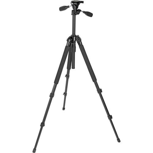 Slik Pro 330DX Tripod (Black) with 3-Way Pan/Tilt Head (Quick Release) - Supports 6.63 lb (3.01 kg)-1007