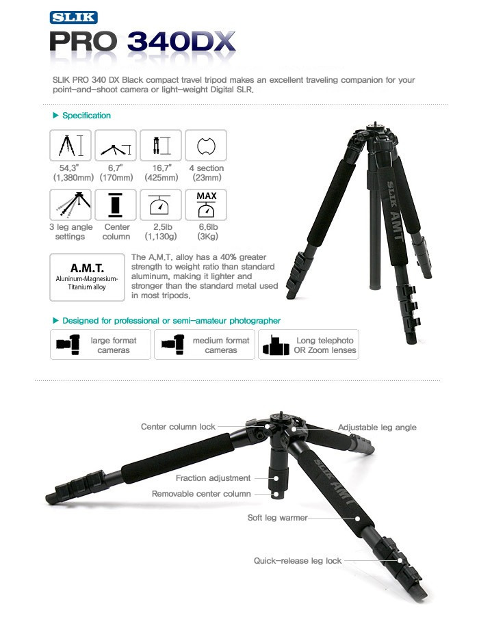 Slik Pro 340DX Tripod (Black) with 3-Way Pan/Tilt Head (Quick Release) - Supports 8.8 lbs (4 kg)-1012