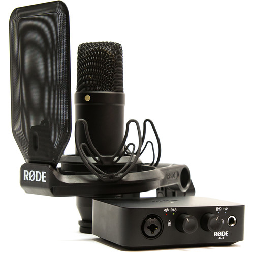 The Rode Complete Studio Kit combines the AI-1 USB audio interface with the NT1 cardioid condenser microphone